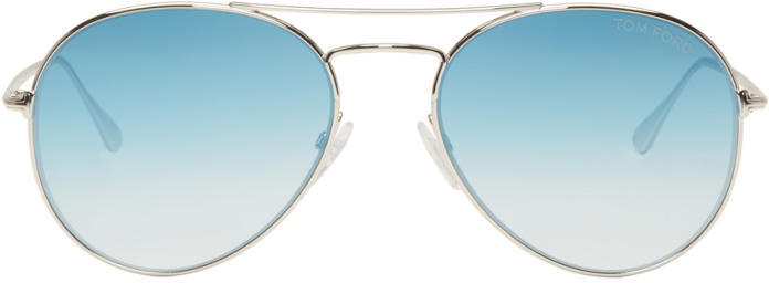 Tom Ford Silver and Blue Ace Aviator Sunglasses
