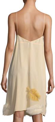 Miu Miu Feather-Embellished Crepe de Chine Cami Dress