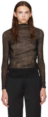 Issey Miyake Black Chiffon Twist Long Sleeve Pleated Blouse