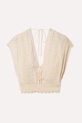 7d1972ae2ae6 Philosophy di Lorenzo Serafini Cropped Crochet-trimmed Georgette Top - Cream