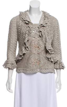 Oscar de la Renta Silk Crochet Cardigan Set w/ Tags