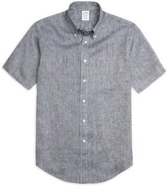 Brooks Brothers Regent Fit Linen Short-Sleeve Sport Shirt