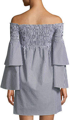 Romeo & Juliet Couture Striped Off-The-Shoulder Bell-Sleeve Dress