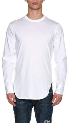DSQUARED2 Jersey Poplin-Sleeve Shirttail T-Shirt