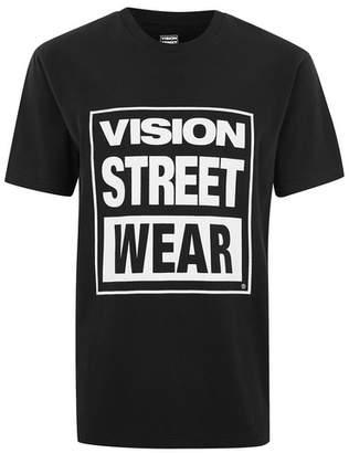 Topman Mens VISION STREET WEAR 'VSW' Black Essential T-Shirt