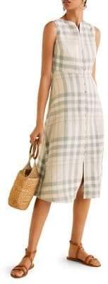 MANGO Plaid Linen Buttoned Dress