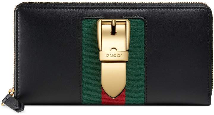 Gucci Sylvie leather zip around wallet