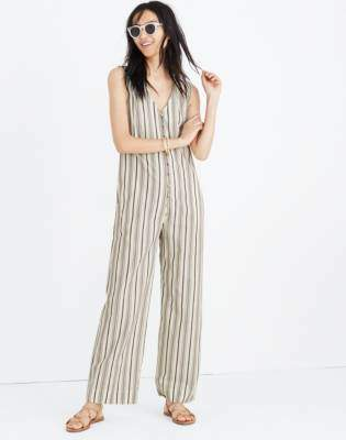 Madewell Striped Button-Down Jumpsuit