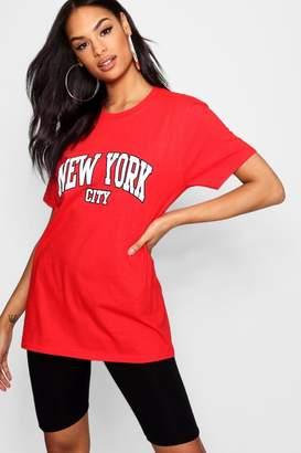 boohoo Tall New York City Slogan T-Shirt