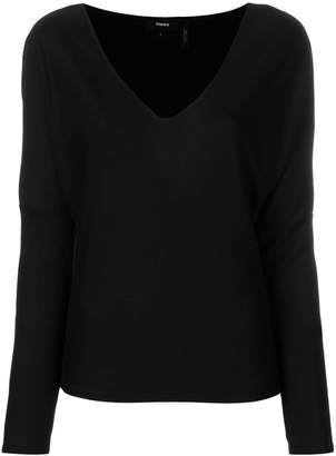 Theory Cowl v-neck long sleeve top