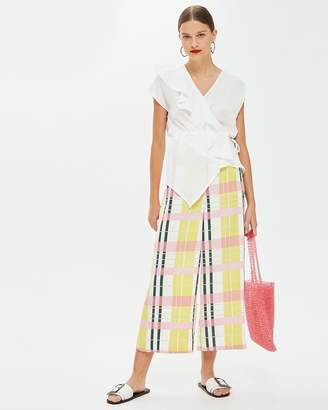 Topshop Bright Check Cropped Wide Trousers