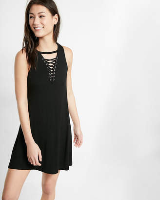 Express Lace-Up Trapeze Hem Dress