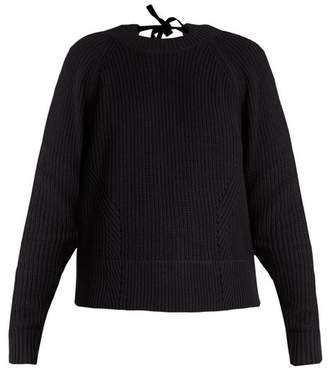 Muveil - Tie Back Cable Knit Cotton Blend Sweater - Womens - Navy