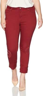 YMI Jeanswear Women's Plus Size Juniors Wannabettabutt Midrise Mega Cuff Skinny