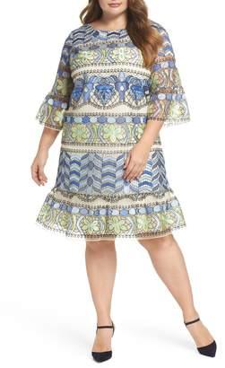 ECI Emboidered Ruffle Sleeve Dress