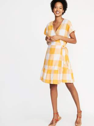 Old Navy Waist-Defined Wrap-Front Gingham Dress for Women