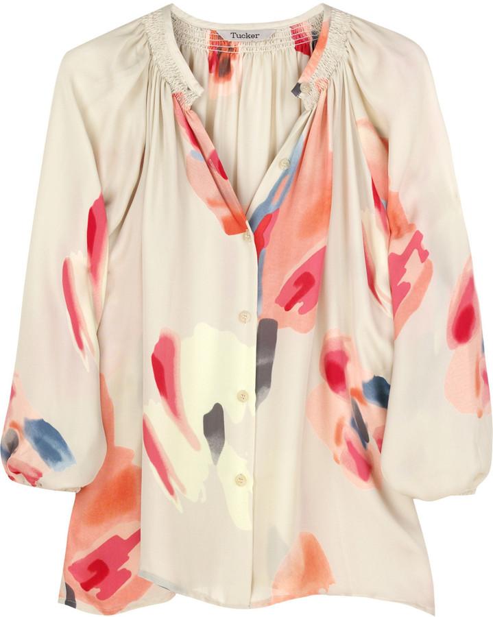 Tucker Printed silk-georgette blouse