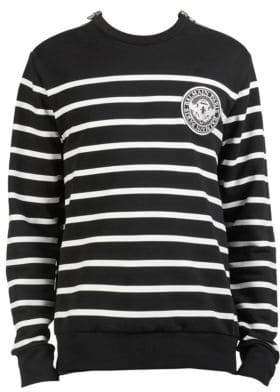 Balmain Striped Patch Crewneck Sweater