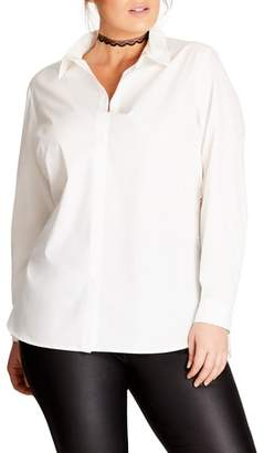 City Chic Crisp Lace Back Shirt
