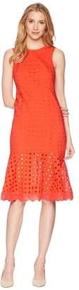 Donna Morgan Sleeveless Eyelet Midi Dress with Flounce Skirt Women's Dress