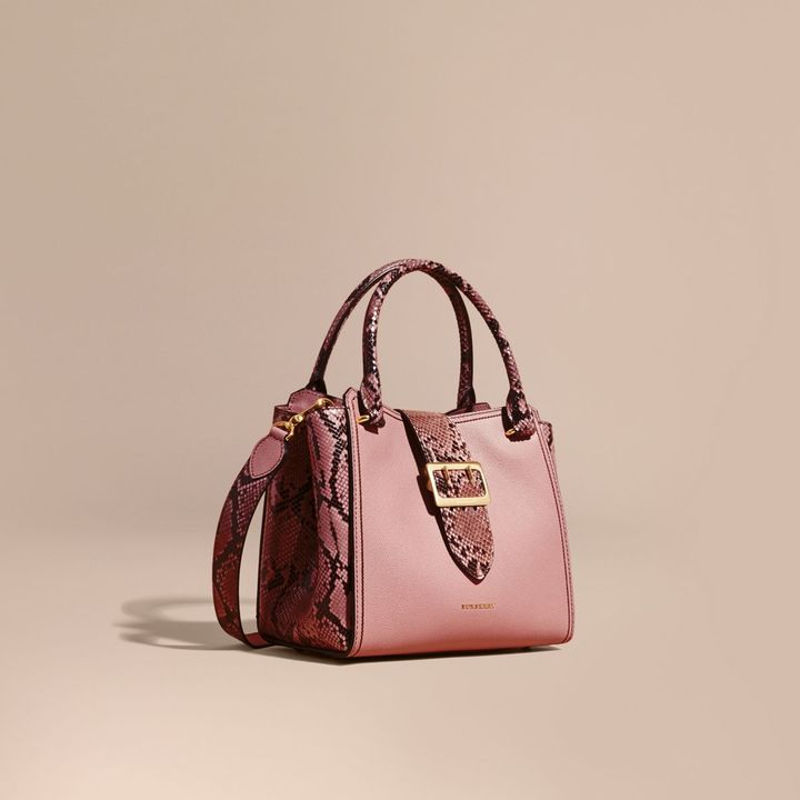 Burberry The Medium Buckle Tote in Grainy Leather and Python