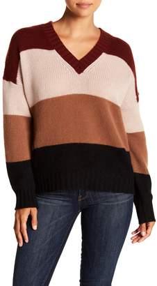 360 Cashmere Jadyn Colorblock V-Neck Cashmere Sweater