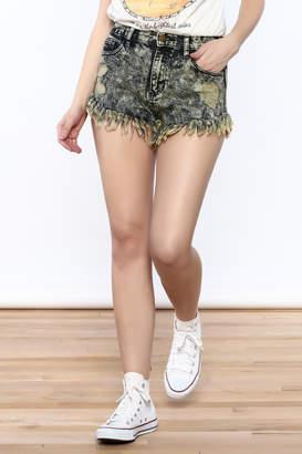 Sneak Peek Acid-Wash Denim Shorts