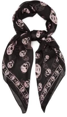 Alexander McQueen Skull Print Silk Chiffon Scarf - Womens - Black