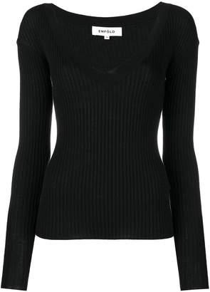 Enfold deep V-neck jumper