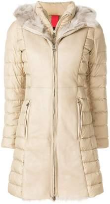 Baldinini padded fur trimmed hooded coat