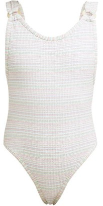 Reina Olga Leone Striped Swimsuit - Womens - White Multi