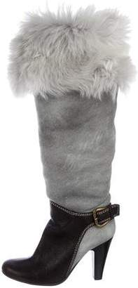 Giuseppe Zanotti Shearling-Trimmed Knee-High Boots