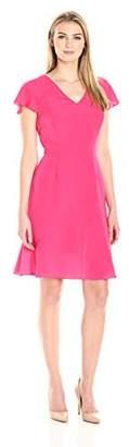 Lark & Ro Women's Flutter-Sleeve V-Neck Fit Flare Dress