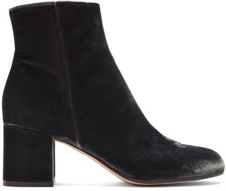 Gianvito Rossi Margaux 60 Velvet Ankle Boots - Womens - Dark Grey