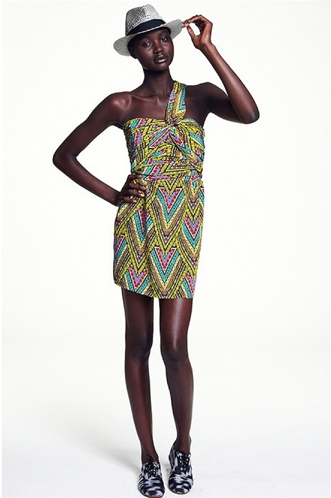 Mara Hoffman - Twist One Shoulder Dress, Tribal Print Yellow