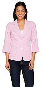 Joan Rivers Classics Collection Joan Rivers Seersucker Jacket with3/4 Sleeve