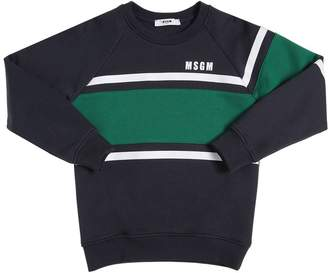MSGM Logo Detail Striped Cotton Sweatshirt
