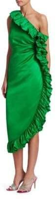 ATTICO One-Shoulder Ruffle Dress