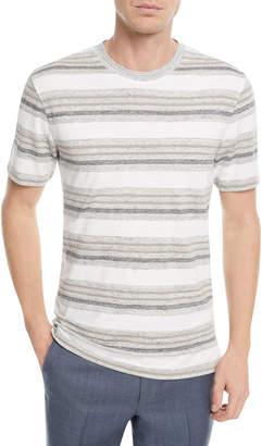 Ermenegildo Zegna Linen-Blend Textured Stripe T-Shirt