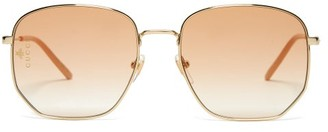 Gucci Oversized Bee Engraved Metal Sunglasses - Womens - Orange
