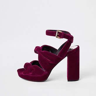 River Island Pink velvet knot platform sandals