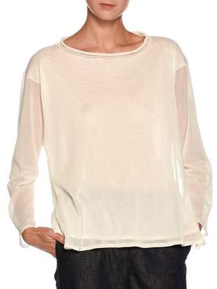 Giorgio Armani Rolled-Collar Long-Sleeve Double-Layer Knit Top