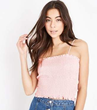 New Look Pink Square Neck Shirred Cami