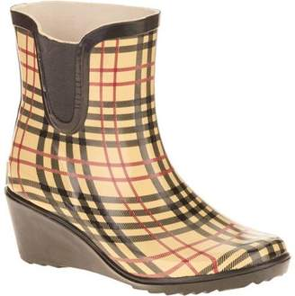 FOREVER YOUNG Forever Young Women's Short Wedge Printed Plaid Rain Boot