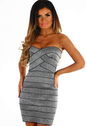 Pink Boutique Need It Now Silver Bandage Strapless Mini Dress