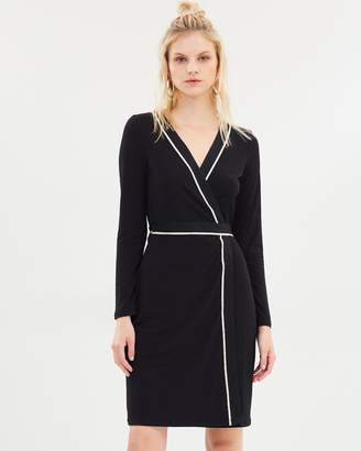 Mng LS Bow Wrap Dress
