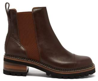 See by Chloe Scallop Edged Leather Chelsea Boots - Womens - Dark Brown