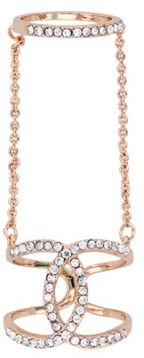 Xo X & O 14KT Rose Gold Plated Horseshoe Overlapped Double Chain Ring ***