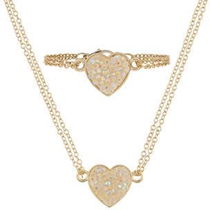 Monsoon Dazzle Heart Necklace & Bracelet Set