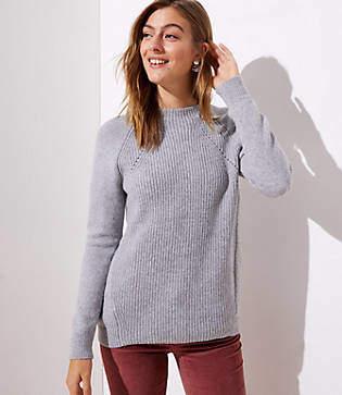 LOFT Petite Mixed Ribbed Mock Neck Sweater